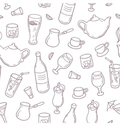 Seamless pattern with outline style drinks in vector image vector image