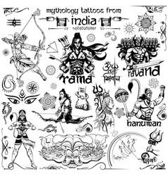 tattoo art design of lord rama ravana and hanuman vector image