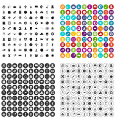 100 astronomy icons set variant vector