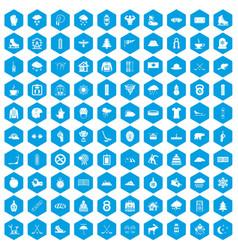 100 winter sport icons set blue vector
