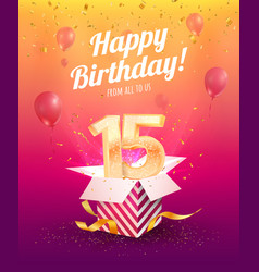 15 years anniversary banner template vector image