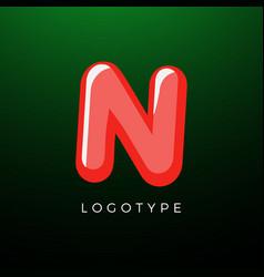 3d playful letter n kids and joy style symbol vector image