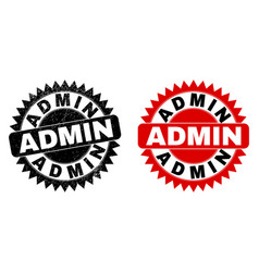Admin black rosette stamp with unclean surface vector
