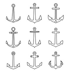 anchor outline icons set marine and nautical vector image
