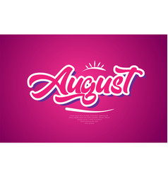 august word text typography pink design icon vector image