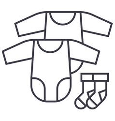 Baby dress rompers and socks line icon vector