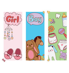 Baby toys banner cartoon family kid toyshop design vector
