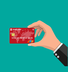 bank card credit card in hand vector image