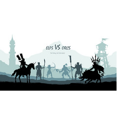 black silhouette of battle orcs and elfs vector image