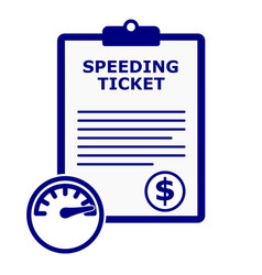 Blue speeding ticket citation set vector