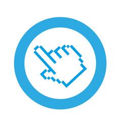 blue symbol pixel hand cursor icon vector image vector image