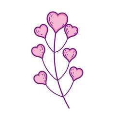 branch with hearts plant vector image