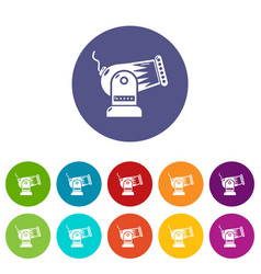 cannon icons set color vector image