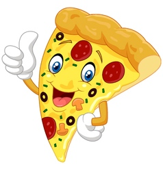 Cartoon pizza giving thumb up vector image