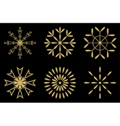 Christmas - Set of gold snowflakes icon vector image
