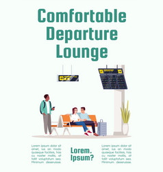 comfortable departure lounge poster template man vector image