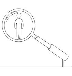 continuous one line man in magnifier hr concept vector image