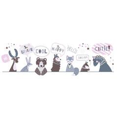 cute nursery banner children animals draw vector image