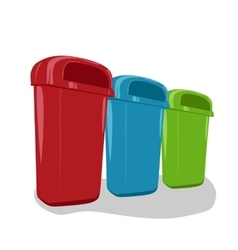Different colored recycle bins set vector image