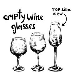 different empty wine glasses vector image