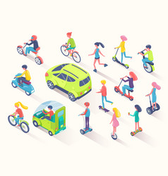 ecotransport people using eco friendly cars auto vector image