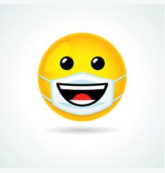 Emoji smile in medical mask vector