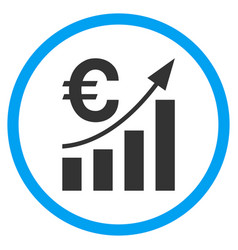 Euro bar chart trend rounded icon vector