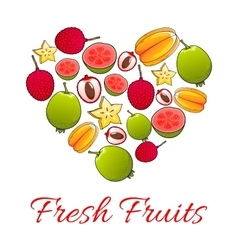 Exotic tropical fruits heart shape poster vector