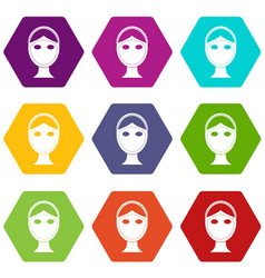 Face marked out for cosmetic surgery icon set vector