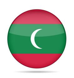 Flag of maldives shiny round button vector
