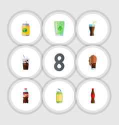 Flat icon soda set of fizzy drink juice soda and vector
