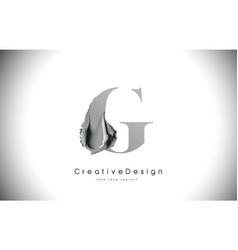 G letter design brush paint stroke black g letter vector