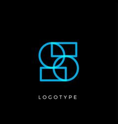 Geometric shape letter s line monogram vector
