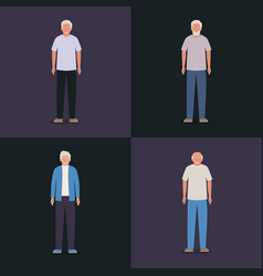 Grandfathers avatars old men design vector