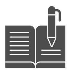 Guest book with pen solid icon registry book vector