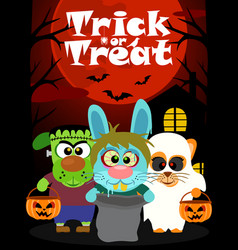 Halloween background with animal trick or vector