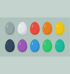 happy easter easter eggs in flat syle vector image