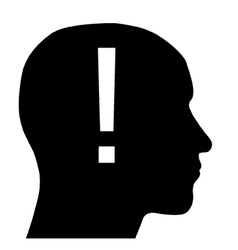 Head with exclamation point vector