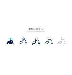 helpless human icon in different style two vector image