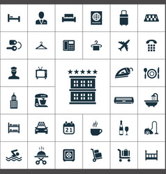 Hotel icons universal set for web and ui vector