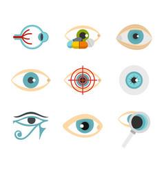 Human eye icon set flat style vector