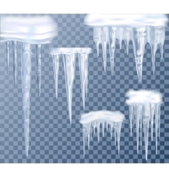 Icicles Transparent Set vector