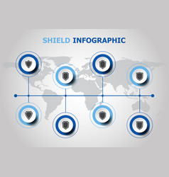 infographic design with shield icons vector image