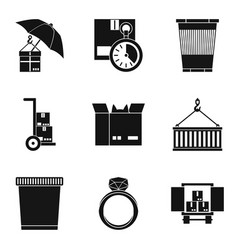 large box icons set simple style vector image