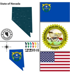 Map nevada with seal vector