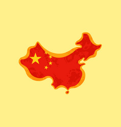 Map of china colored with chinese flag vector