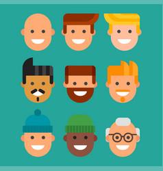 men head portrait different nationality friendship vector image