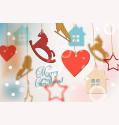 merry christmas card with colorful funny vector image