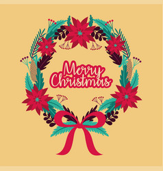 Merry christmas card with wreath crown vector