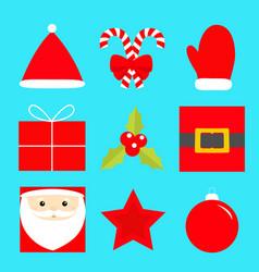 merry year icon set star santa vector image